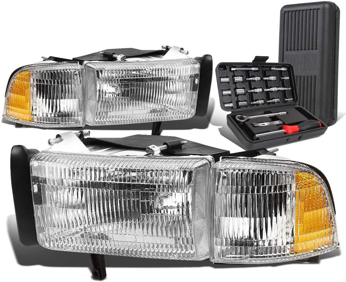 Chrome Housing Amber Corner Headlight+Corner Lamps+Tool Kit Replacement for Dodge Ram Truck 94-02