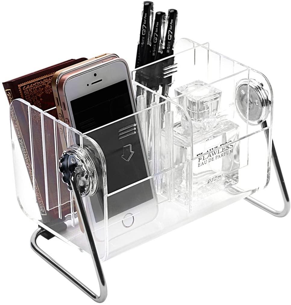 Ivosmart Clear Desktop Acrylic TV Remote Control Mobile Phone Storage Holder Organizer Caddy
