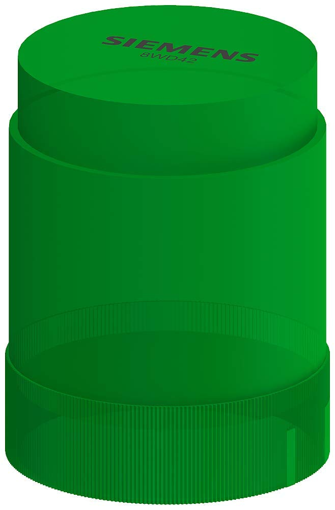Siemens 8WD42 00-1AC Sirius Signal Column, Thermoplastic Enclosure, IP54 Degree of Protection, 50mm Diameter, Steady Light Element, UC 24 to 230V Rated Voltage, Green