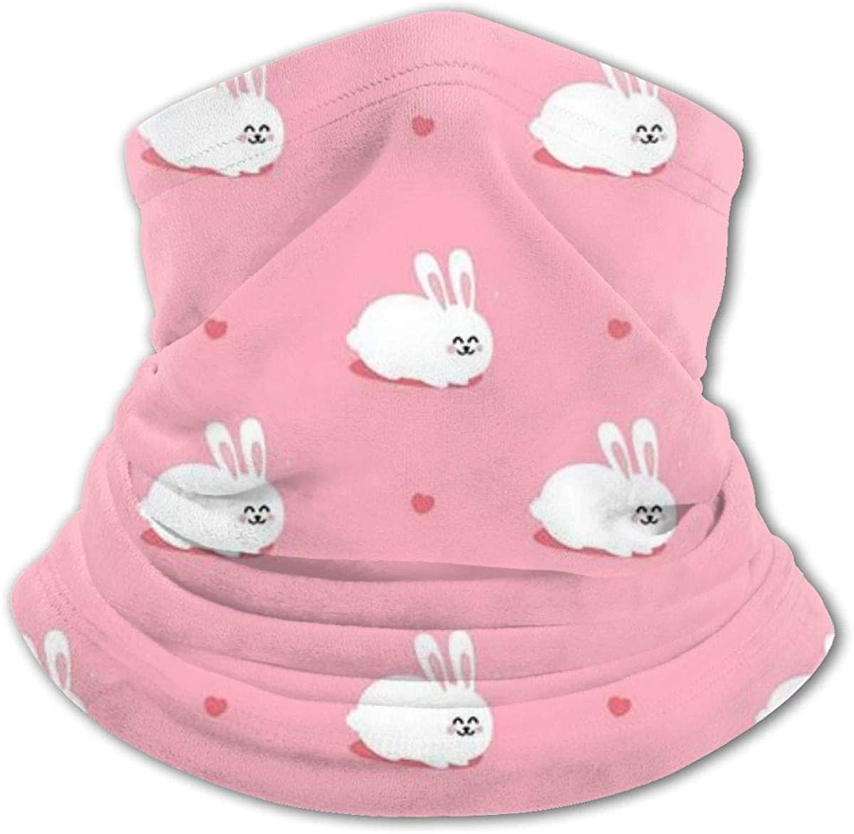 Pink Rabbit Headwear For Girls And Boys, Head Wrap, Neck Gaiter, Headband, Tenn Fishing Mask, Magic Scarf, Tube Mask, Face Bandana Mask For Camping Running Cycling