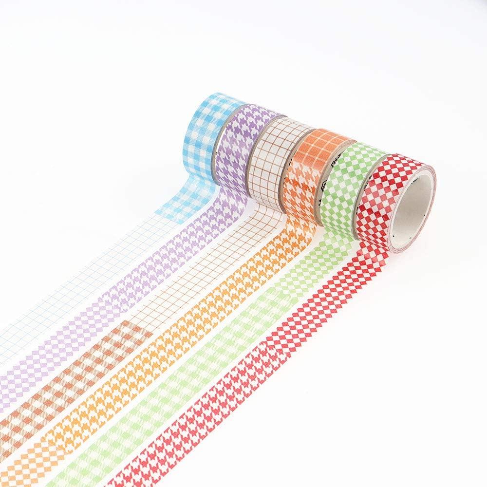 6 Rolls Washi Tape Set, NogaMoga Basic Pattering Design, 15mm Wide Decorative Masking Tapes for Arts, DIY Crafts, Bullet Journals, Planners, Scrapbooking