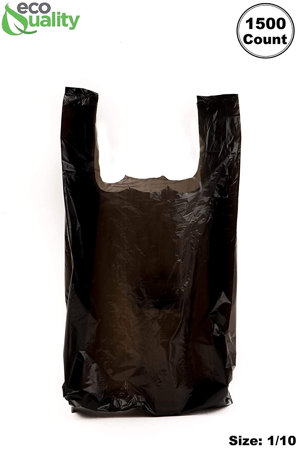 EcoQuality Plastic Black T-Shirt Bags 1500ct, 1/10 Shopping Bags, Grocery Bags, Poly Bags, Multi-Use, Small Size, Reusable Carry Out Bags (8x4x16 in.) (13 Micron)