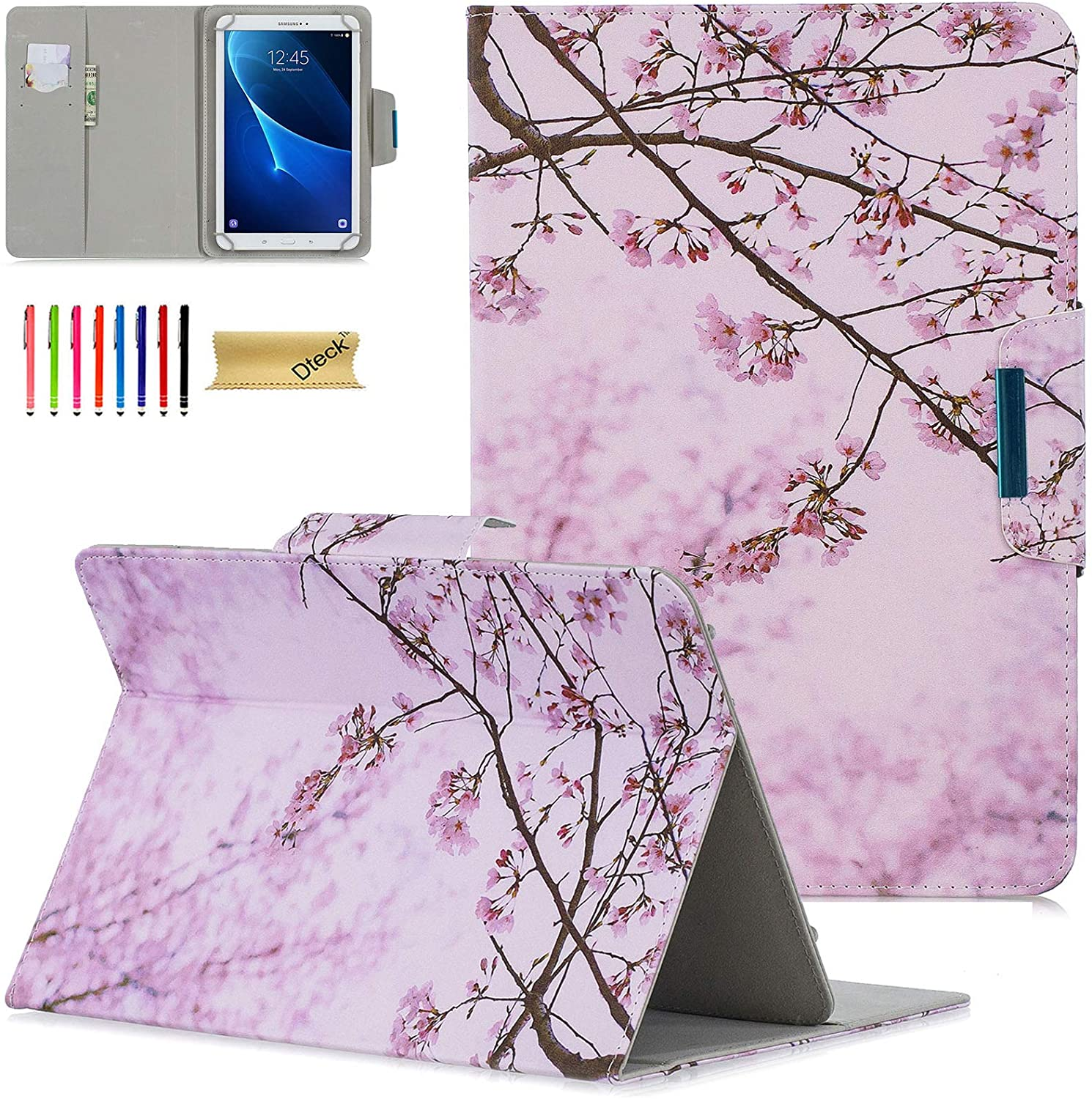 Dteck Universal Case for 9.5-10.5 Inch Tablet - Slim Light Pretty Folio Pocket Stand Case Cover for Apple iPad/Samsung/Kindle/Huawei/Lenovo/Android/Dragon Touch 9.7 9.6 10.1 10.5 Inch-Pink Floral