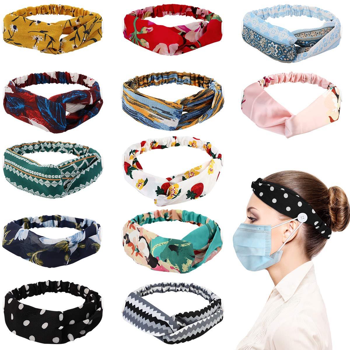 Button Headbands for Women, Kapmore 12PCS Elastic Print Headbands with Button Vintage Floral Bandeau Headbands Criss Cross Hair Wrap Hair Accessories