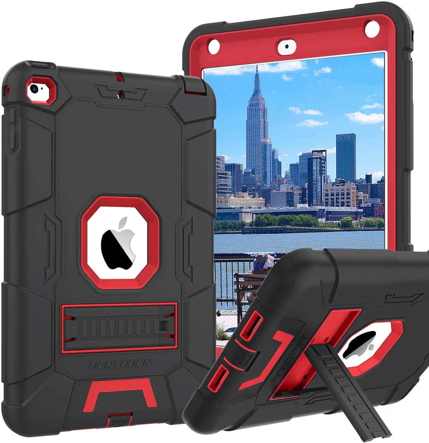 BENTOBEN iPad Mini 5 Case, iPad Mini 4 Case, Kickstand Hybrid Three Layer Heavy Duty Rugged High Impact Resistant Cover Shockproof Protective Cases for iPad Mini 5/ Mini 4,Black/Red