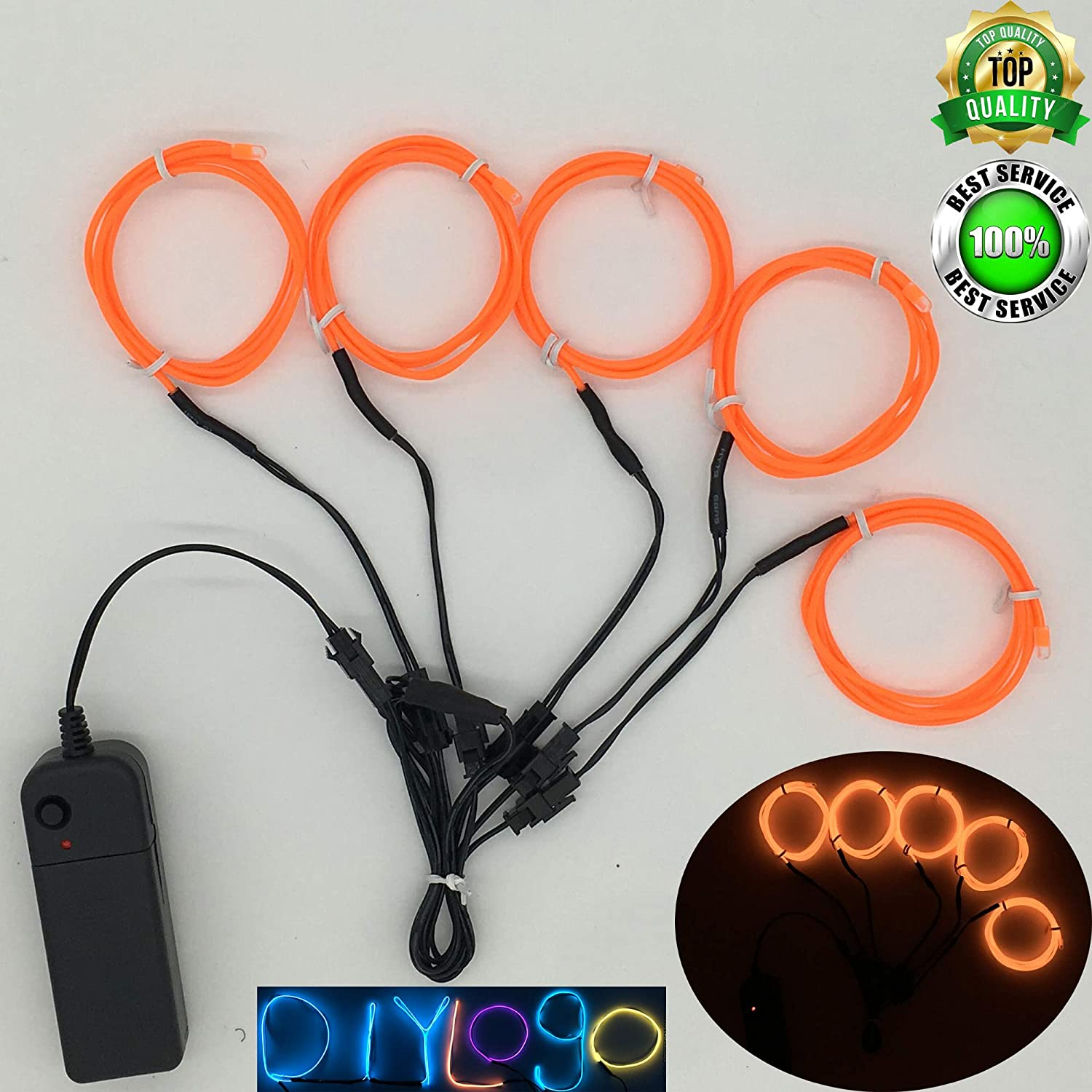 ShineWorld EL Wire Kit 5 by 1Meter,Neon EL Wire kit,Neon Light Wire,Glowing Wire,EL Wire with Battery Pack for Parties,Halloween,Christmas,DIY Decoration
