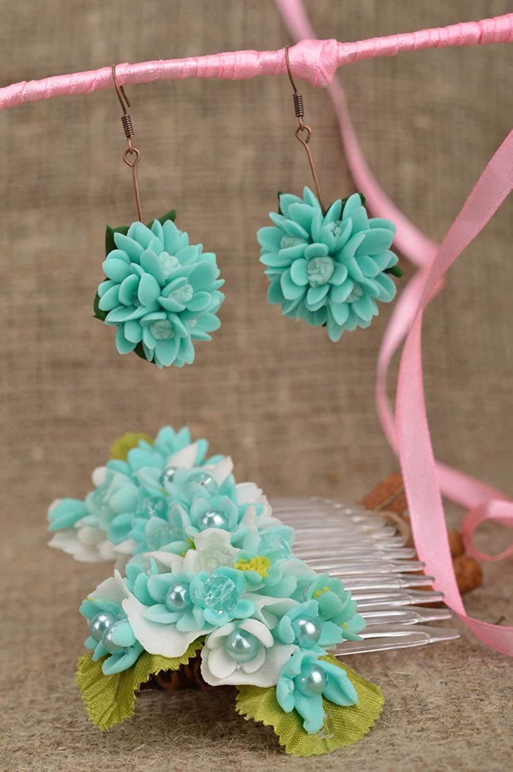 Set of Handmade Polymer Clay Floral Accessories 2 Items Earrings and Hair Comb
