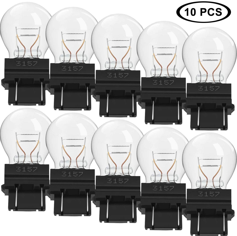 10 Pieces 3157LL Light Bulb 3157 Miniature Bulb Long Life Mini Bulb for Brake Lights