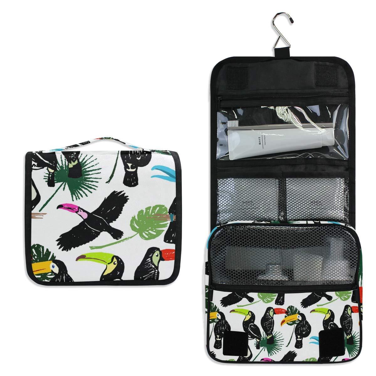 Toiletry Bag Travel Bag Hanging Hook - Tucan Pattern Waterproof Cosmetic Bag Portable Makeup Pouch for Toiletries Bathroom