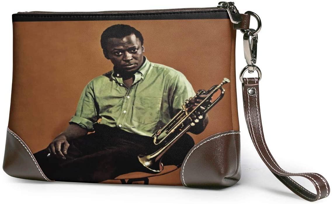 MAJJAKJH Miles Davis Milestones Music Band Purses Clutch Phone Leather Small Wristlet Purses Handbag