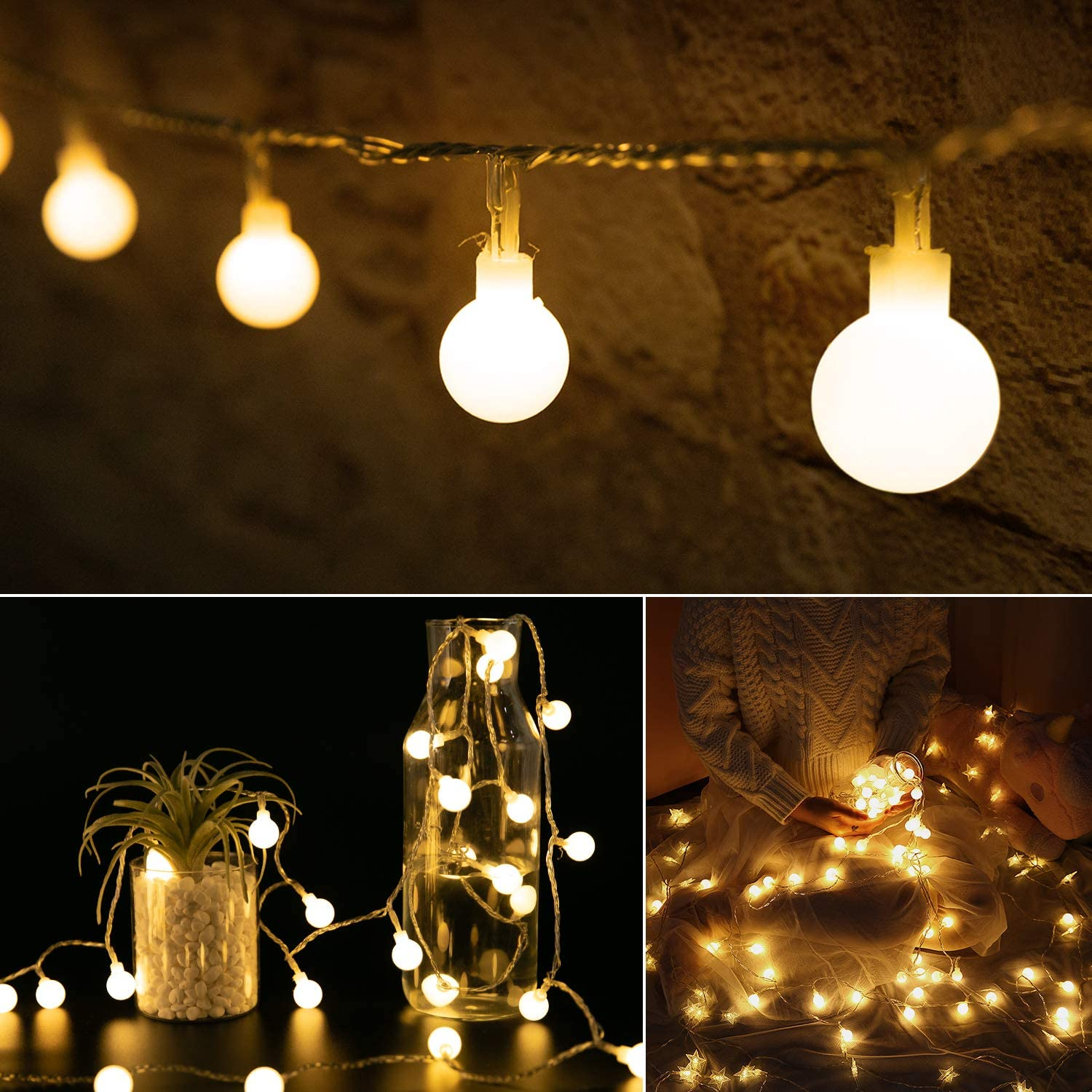 Mini Globe String Lights: 33 Ft 100 LED Ball Lights Plug in | Waterproof Plug & Remote | Decor for Bedroom Wall Christmas Tree Indoor Outdoor Wedding | Warm White