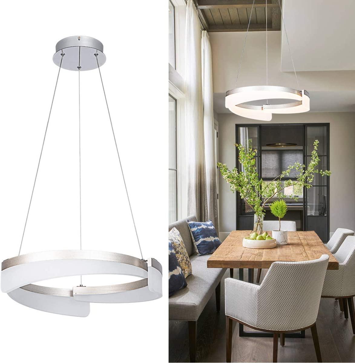 LED Pendant Light Not Dimmable Adjustable 1 Ring Acrylic Modern Chandelier for Living Room Bedroom Dining Room, Warm White 3000K, Chrome, by HL