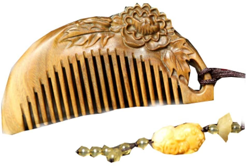 Carved Peony Green Sandalwood Hair Comb Anti-Static Wooden Comb with Pendant