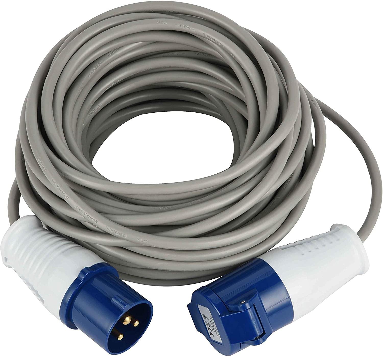 FROR Electraline 4614820m, Rubber Extension Plug Cord Industrial IEC, 3Pin Plug Suitable for Caravan, Camping, Boat, Obra–IP44Grey