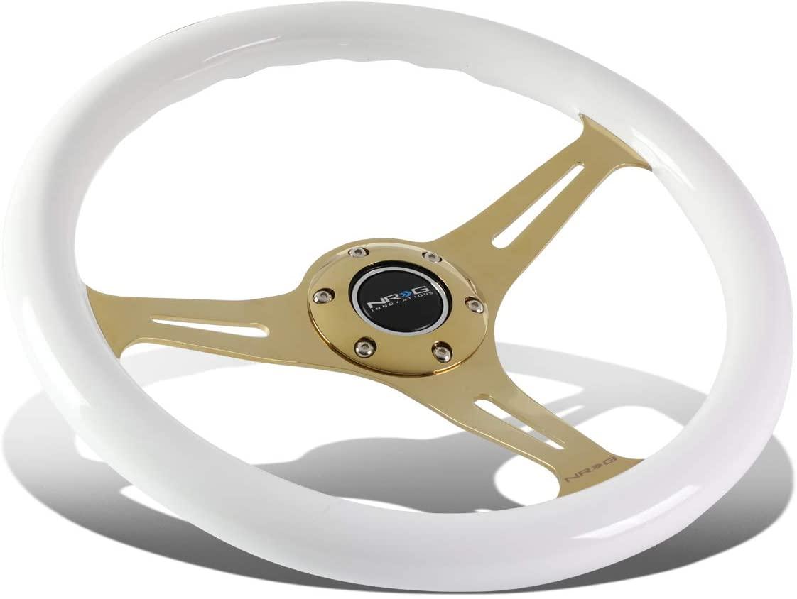 NRG Innovations ST-015CG-WT 350mm Chrome Gold Spokes White Wood Grain Grip Steering Wheel
