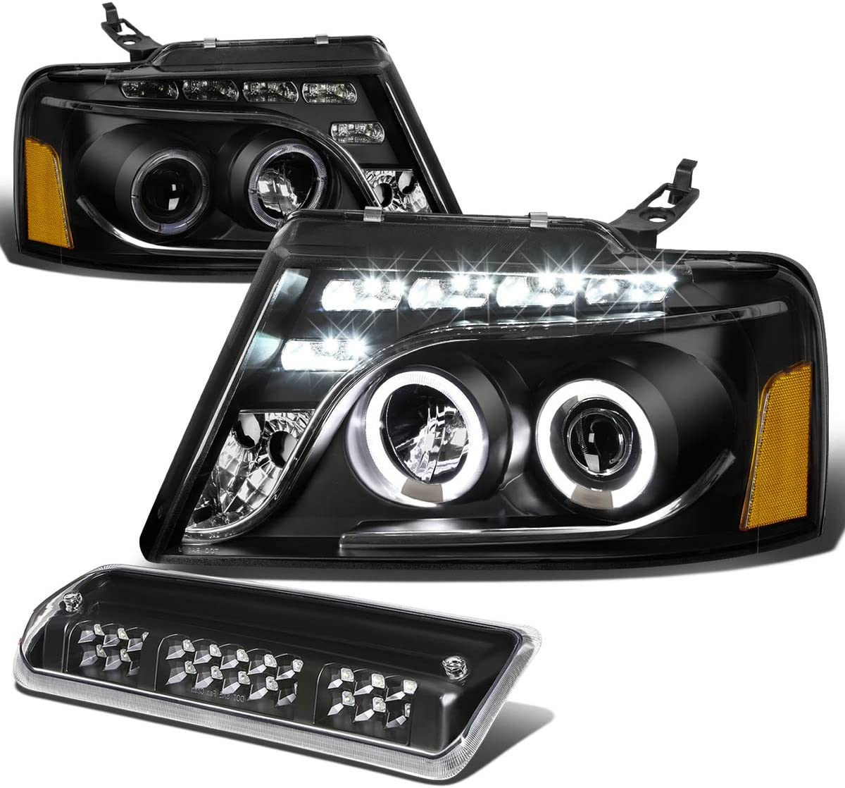 Replacement for Ford F150 Pair of Black Housing Amber Corner Dual Halo Projector LED Headlight+3rd Brake Light