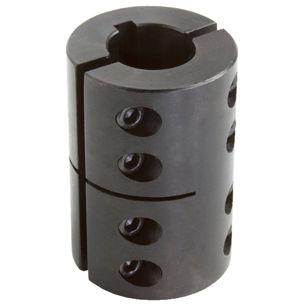Climax Part 2CC-137-100-KW Mild Steel, Black Oxide Plating Clamping Coupling, 1 3/8 inch X 1 inch bore, 2 3/8 inch OD, 3 5/8 inch Length, 1/4-28 x 3/4 Clamp Screw