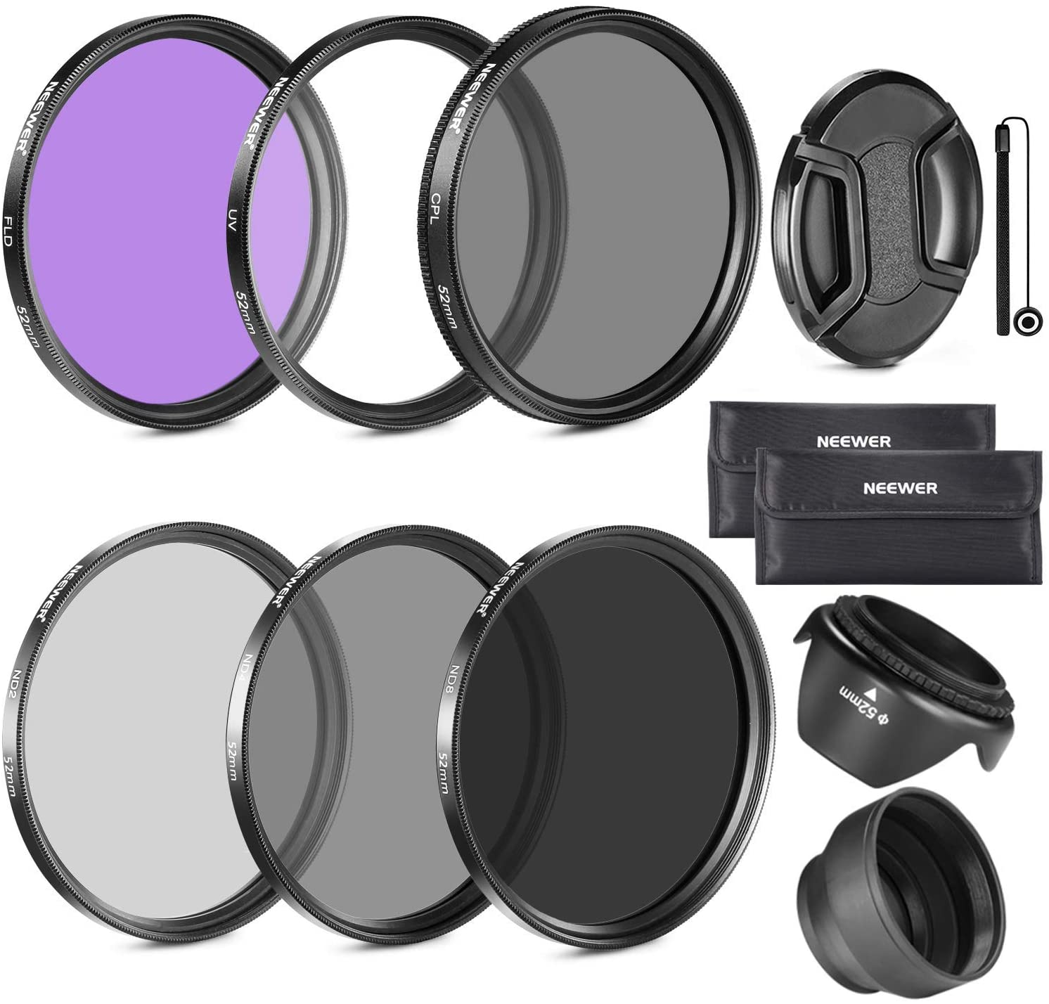 Neewer 77MM Lens Filter Kit: UV, CPL, FLD, ND2, ND4, ND8 and Lens Hood, Lens Cap for CANON 24-105MM, 10-22MM, 17-40MM and NIKON 28-300 Zoom Lenses