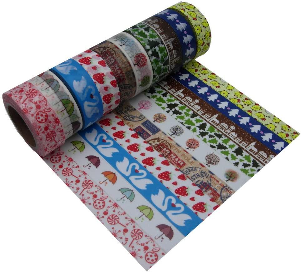 15mm10m Fresh Floral Washi Tape DIY Decorative Scrapbooking Masking Tape Adhesive Label Sticker Tape Stationery