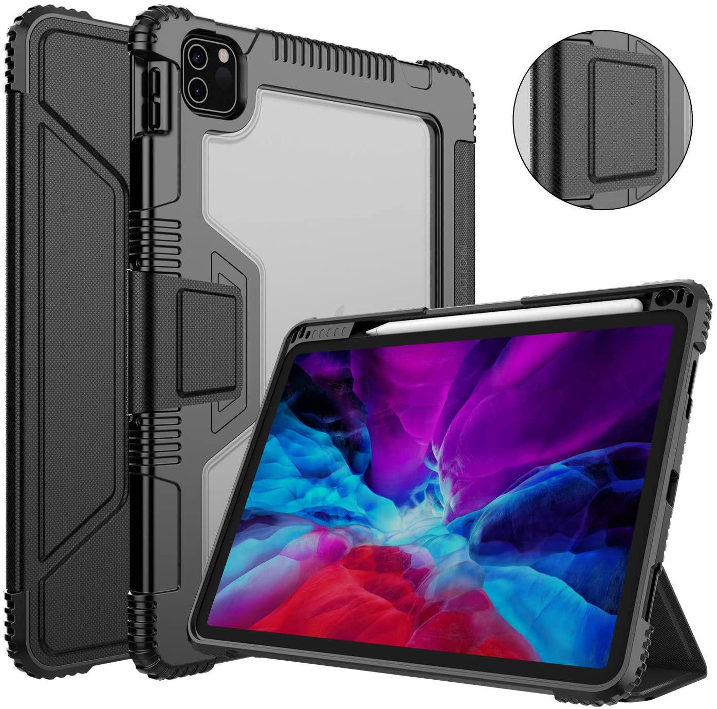 Nillkin iPad Pro 12.9 2020 4th Generation Case with Screen Protector, PU Leather Protective Case with Apple Pencil Holder and Auto Sleep/Wake, Smart Cover and Protective Film for iPad Pro 12.9