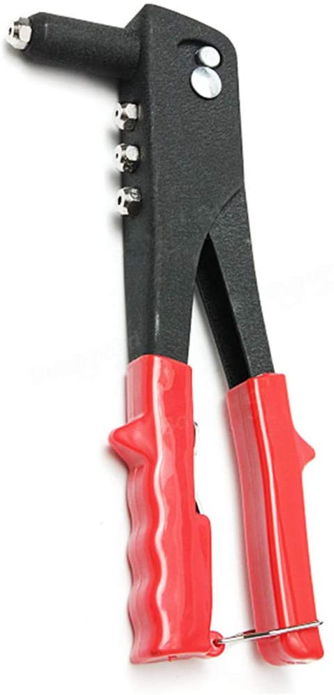 Pop Rivet Gun Kit Manual H Riveter Heavy Duty Tool Repair 40 Rivets Comfortable Vinyl Grip Steel Iron Rivets Gun H Tool Red