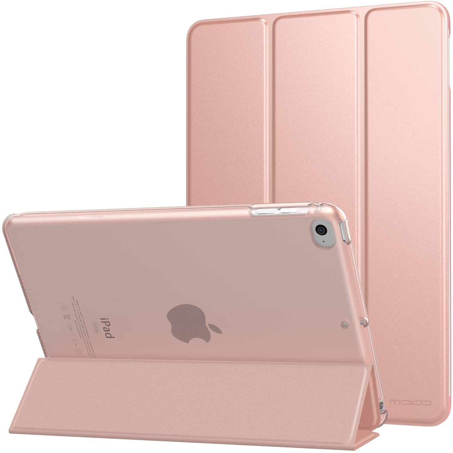 MoKo Case Fit New iPad Mini 5 2019 (5th Generation 7.9 inch) - Slim Lightweight Smart Shell Stand Cover with Translucent Frosted Back Protector, with Auto Wake/Sleep - Rose Gold