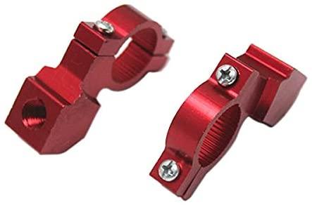prasku 2X Mirror Clamp On Bracket Holder for 7/8 Inch Handlebar Motorcycle Red