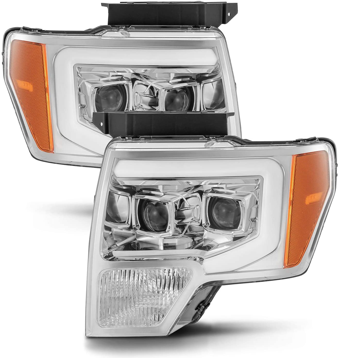 AlphaRex Base Model Chrome For 09-14 Ford F150 DRL LED Tube Dual Projector Headlights
