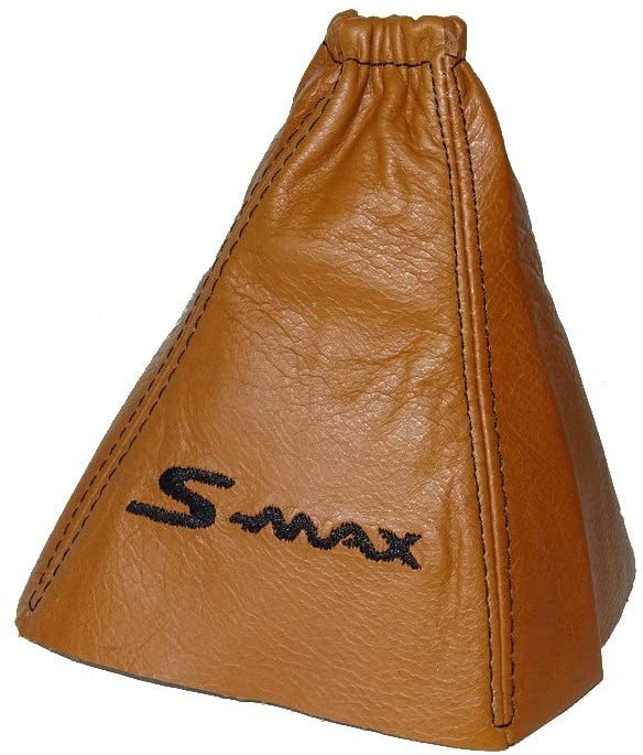 The Tuning-Shop Ltd For Ford S-Max 2006-08 Gear Gaiter Baseball Orange Italian Leather Black S-Max Logo Embroidery