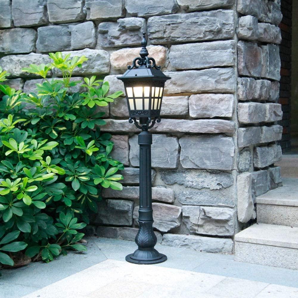 BTBAM 88cm High Pole Outdoor Post Lamp Vintage Aluminum Waterproof Lawn Floor Lamp E27 Glass Bollard Column Lamp for Villa Porch Garden Courtyard Patio Pathway Street