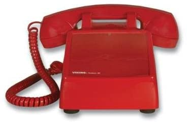 Viking Electronics No Dial Desk Phone Red Built-In Volume Ringer Hearing Aid