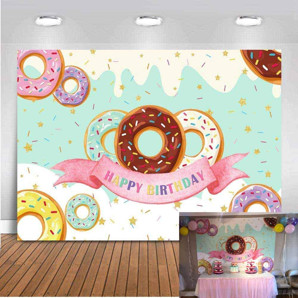 Mocsicka Donut Backdrop 7x5ft Donut Birthday Party Event Cake Table Photography Background Sweet Girl Donut Grow Up Decorations and Supplies