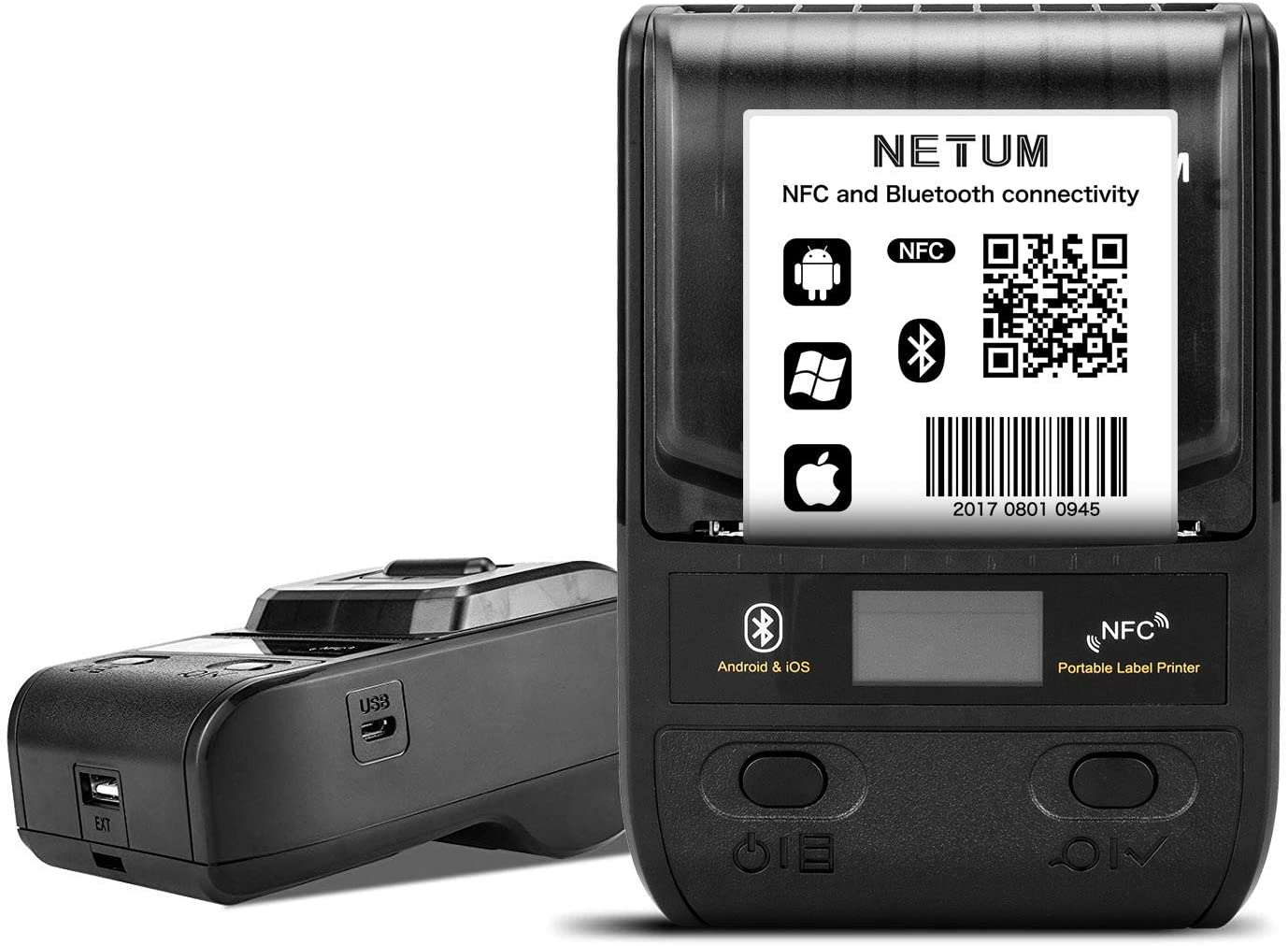 NETUM Label Maker - Portable Bluetooth Thermal Label Printer Apply to Clothing, Jewelry, Retail, Mailing, Barcode, Compatible for Android & iOS System