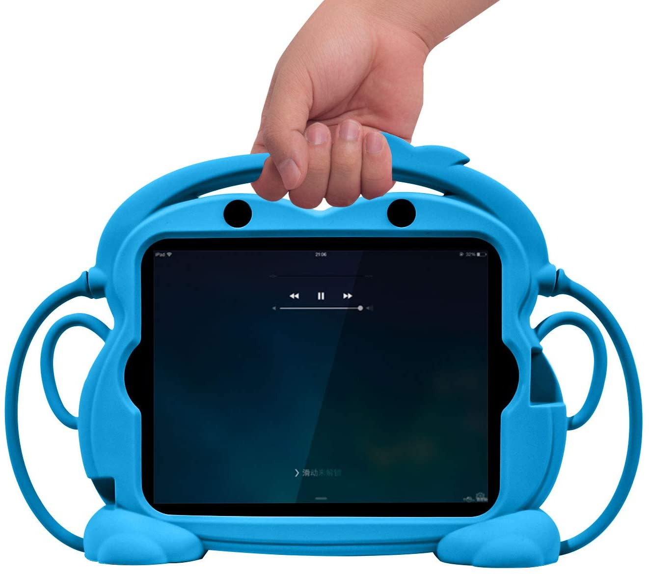 CHIN FAI iPad 2 3 4 Case for Kids, Child Proof Silicone Protective Car Case Cute Monkey Handle Stand Cover for Apple iPad 2nd 3rd 4th Generation (Blue)