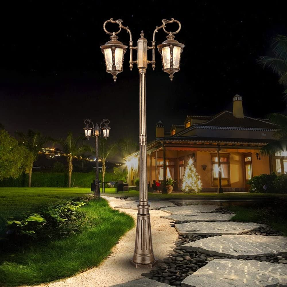 Vampsky 2-Lights European Glass Lantern Post Lamp, Patio Park Garden Lights Vintage Post Powered Pathway Walkway Aluminum Outdoor Waterproof Street Light Path Lamp