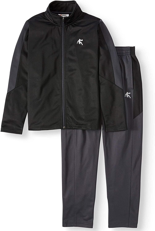 AND1 Boys' 2-Piece High Score Tracksuit Active Set, Pants+Jacket (Black)