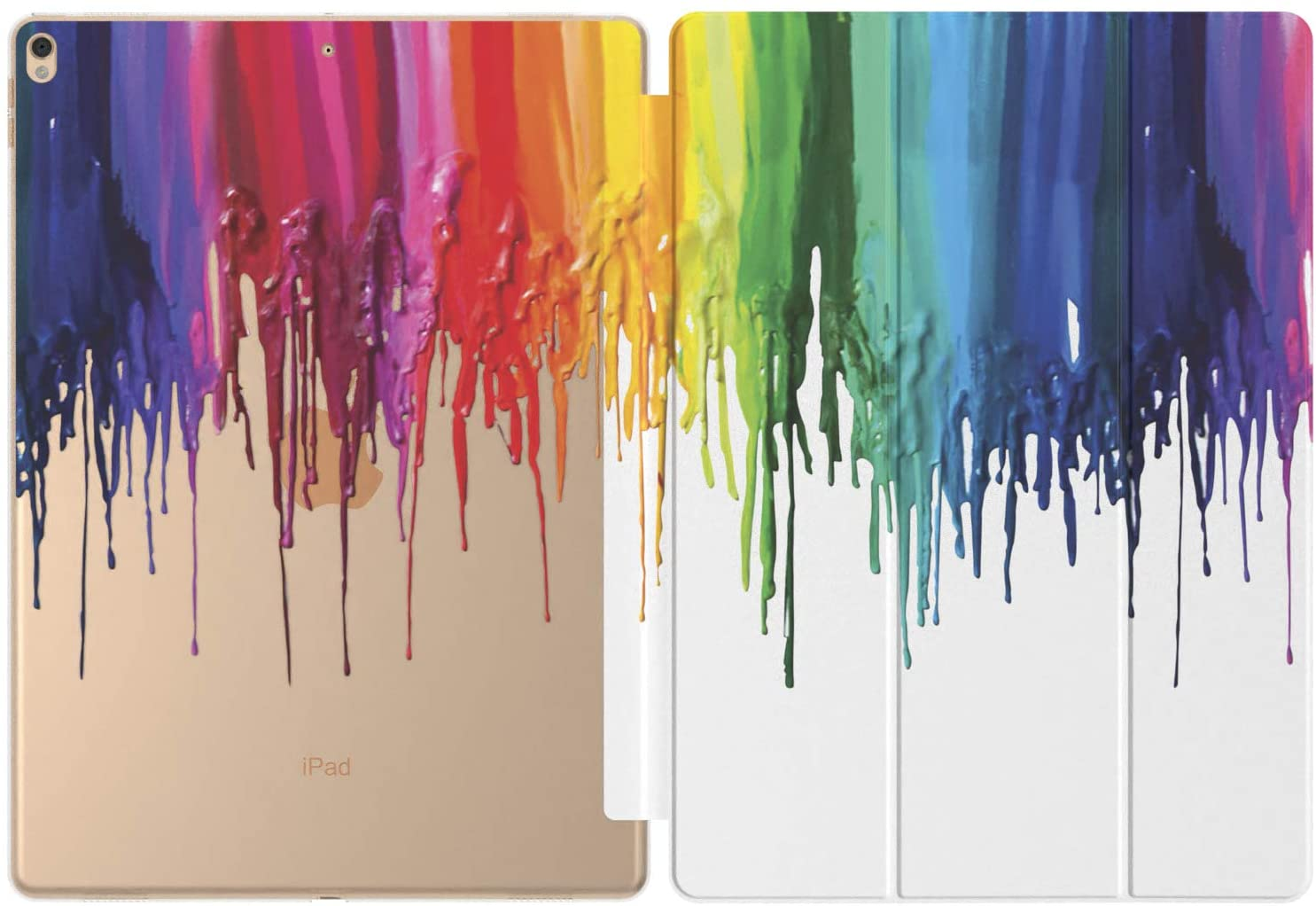 Mertak Case for Apple iPad Pro 11 Air 3 2 10.2 2019 12.9 inch 10.5 9.7 2020 2019 Mini 5 4 6th 7th Rainbow Clear Colorful Art Auto Wake Sleep Paint Abstract Slim Dripping Cute Smart Cover