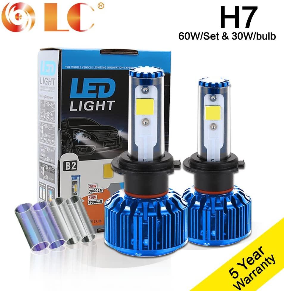 LC H7 Single Beam 30W 3000LM CREE-COB Chip LED Headlight Conversion KIT 2 Colors DIY