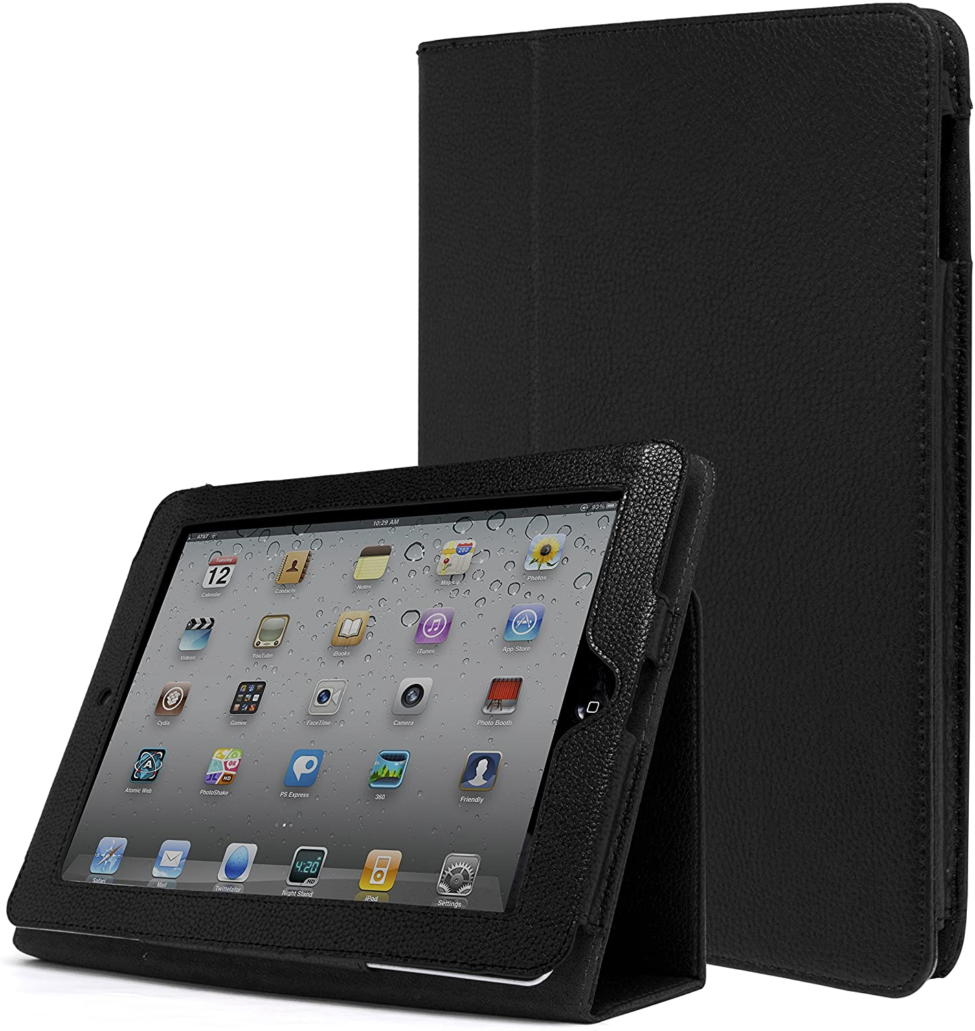 iPad 1 Case, Bastex Folio Synthetic Leather Case Cover with Built-in Stand for Apple iPad 1 1st Generation - Black