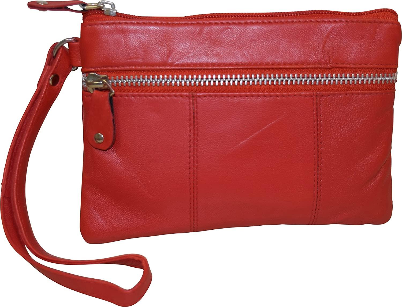 London Stitch Women's Genuine Leather Wristlet Clutch Organizer Pouch