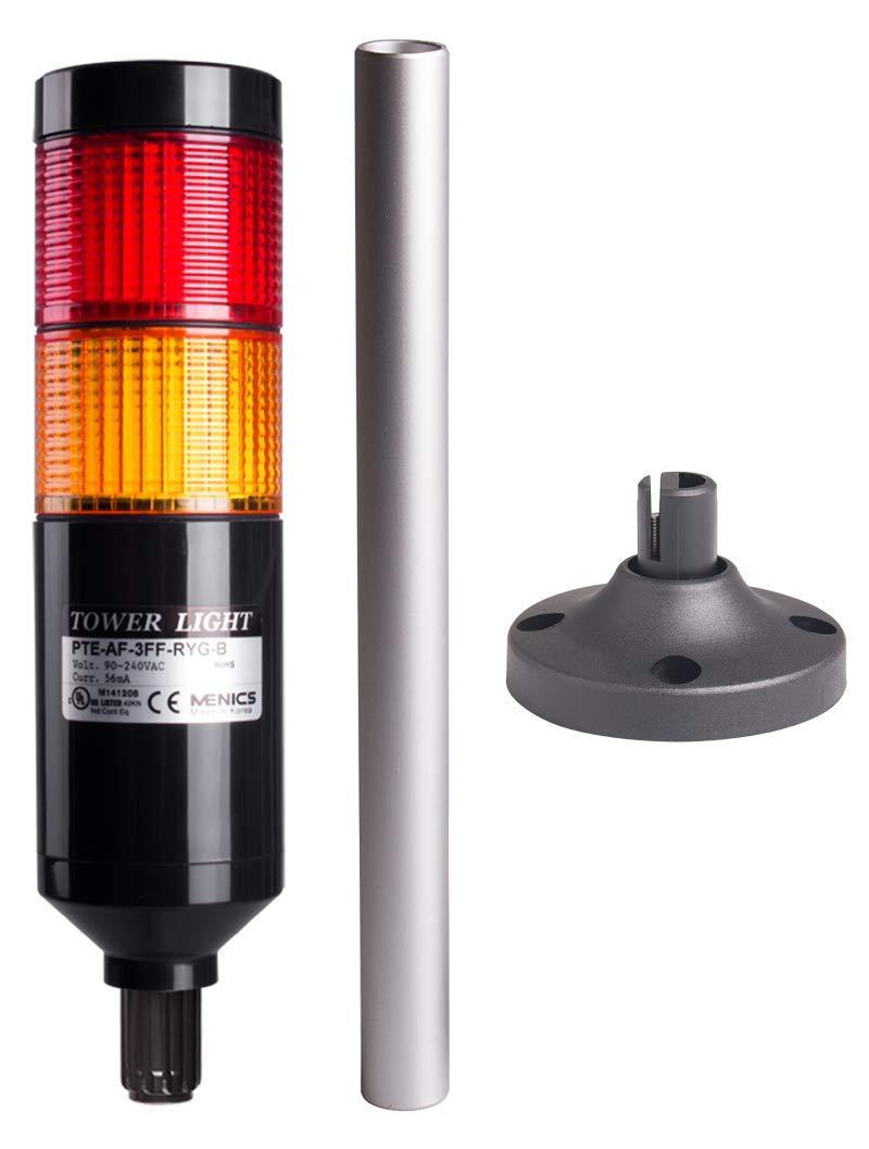 PTE-APF-2FF-RY-B, Tower Light Kit, 56mm Modular LED, Red/Yellow Lens 2 Stacks, Steady/Flash, Black Body, 25