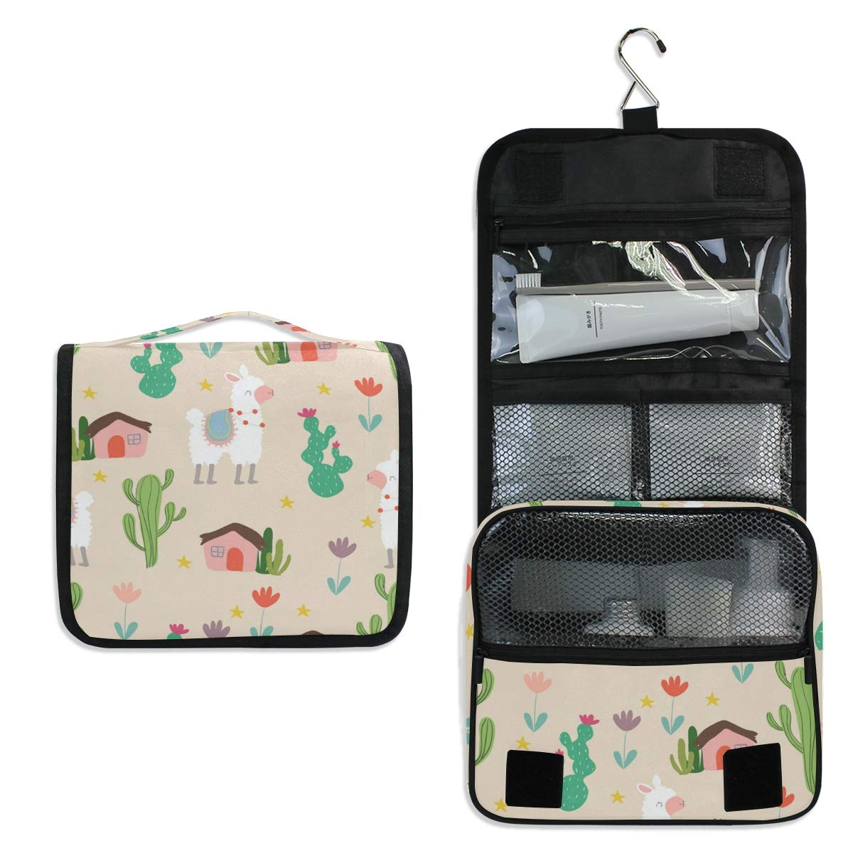 Toiletry Bag Travel Bag Hanging Hook - Llamas Cactus House Waterproof Cosmetic Bag Portable Makeup Pouch for Travelling Business Trip Camping