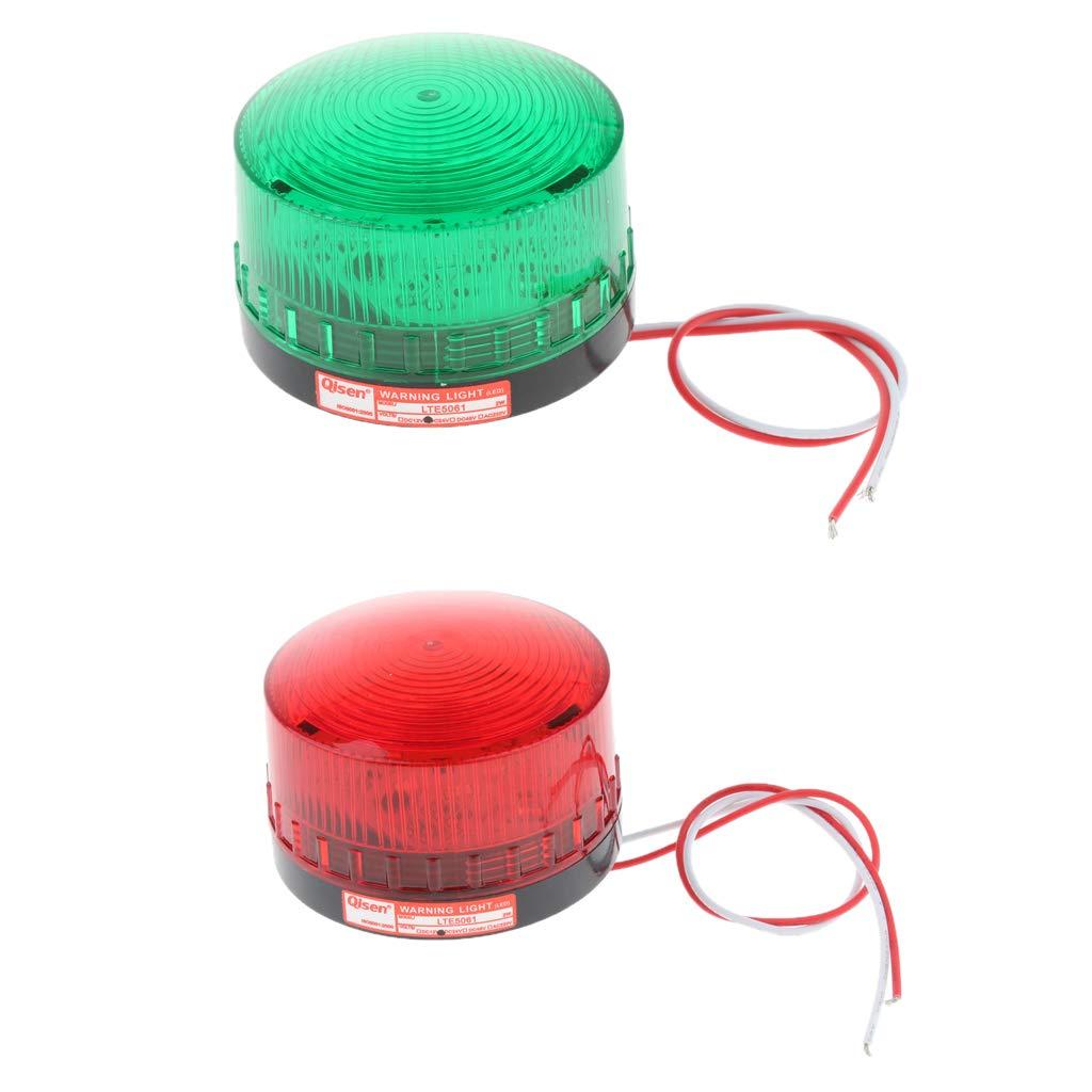 yotijar 2 Pcs 24V Always-On Warning Beacon Lights, Red