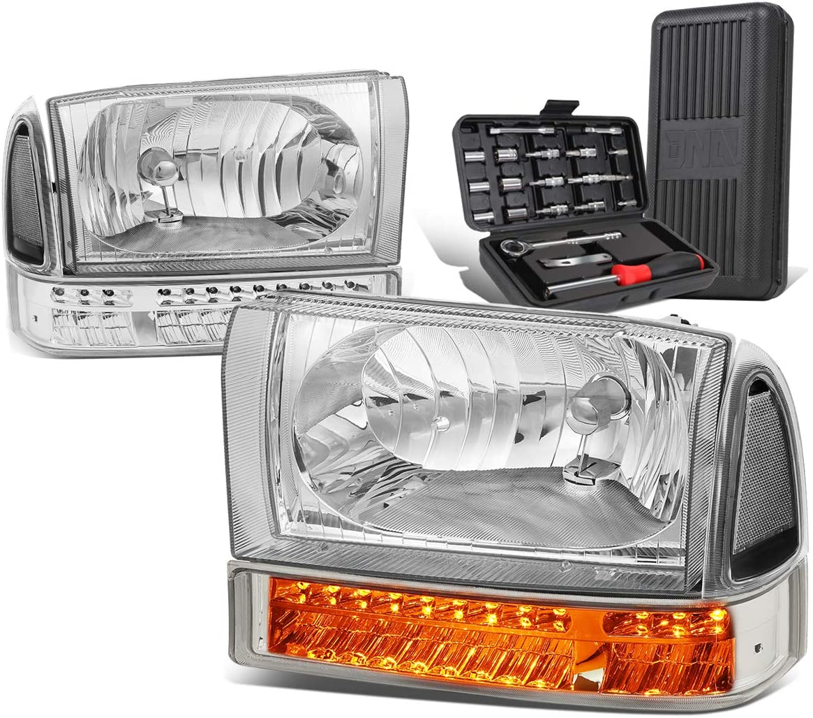 LED Turn Signal Chrome Clear Corner Headlight w/Bumper Lamps+Tool Kit Replacement for Ford F-250 F-350 Super Duty 99-04