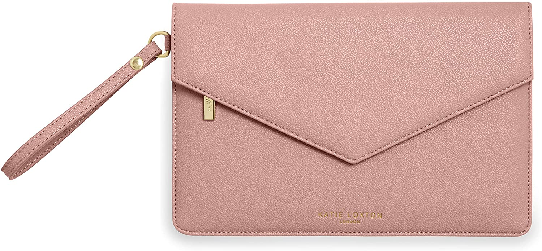 Katie Loxton Esme Womens Vegan Leather Envelope Clutch Wristlet Bag Pink