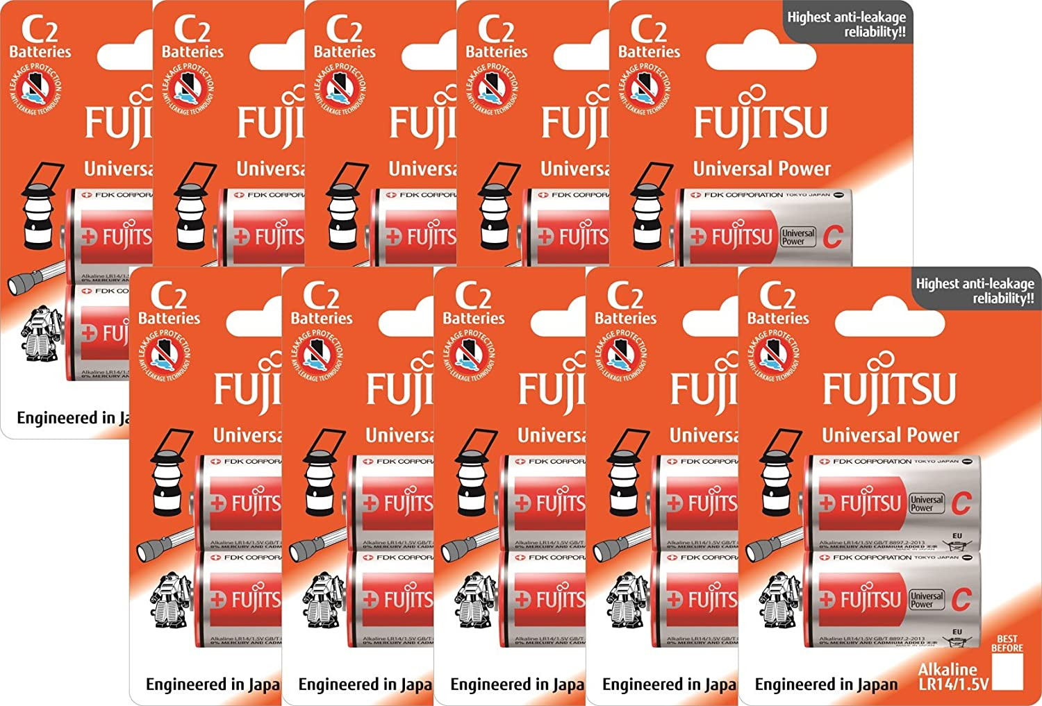 Fujitsu Universal Alkaline Battery - C2 Batteries Pack of 10 (Appearance May Vary from Pictures)