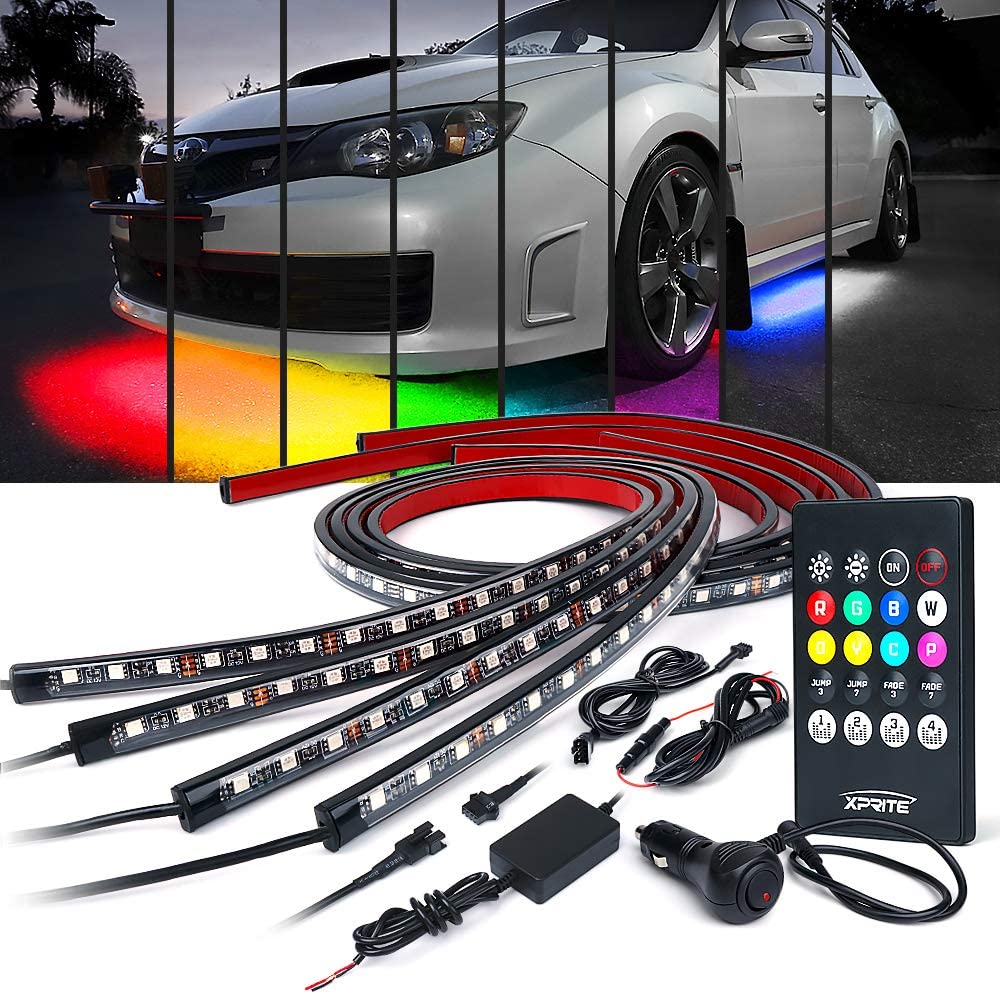 Xprite Car Underglow Neon Accent Strip Lights Kit 8 Color Sound Active Function and Wireless Remote Control 4 PCs LED Underbody System Light Strips w/ 6FT Extension Wire & Cable Tie