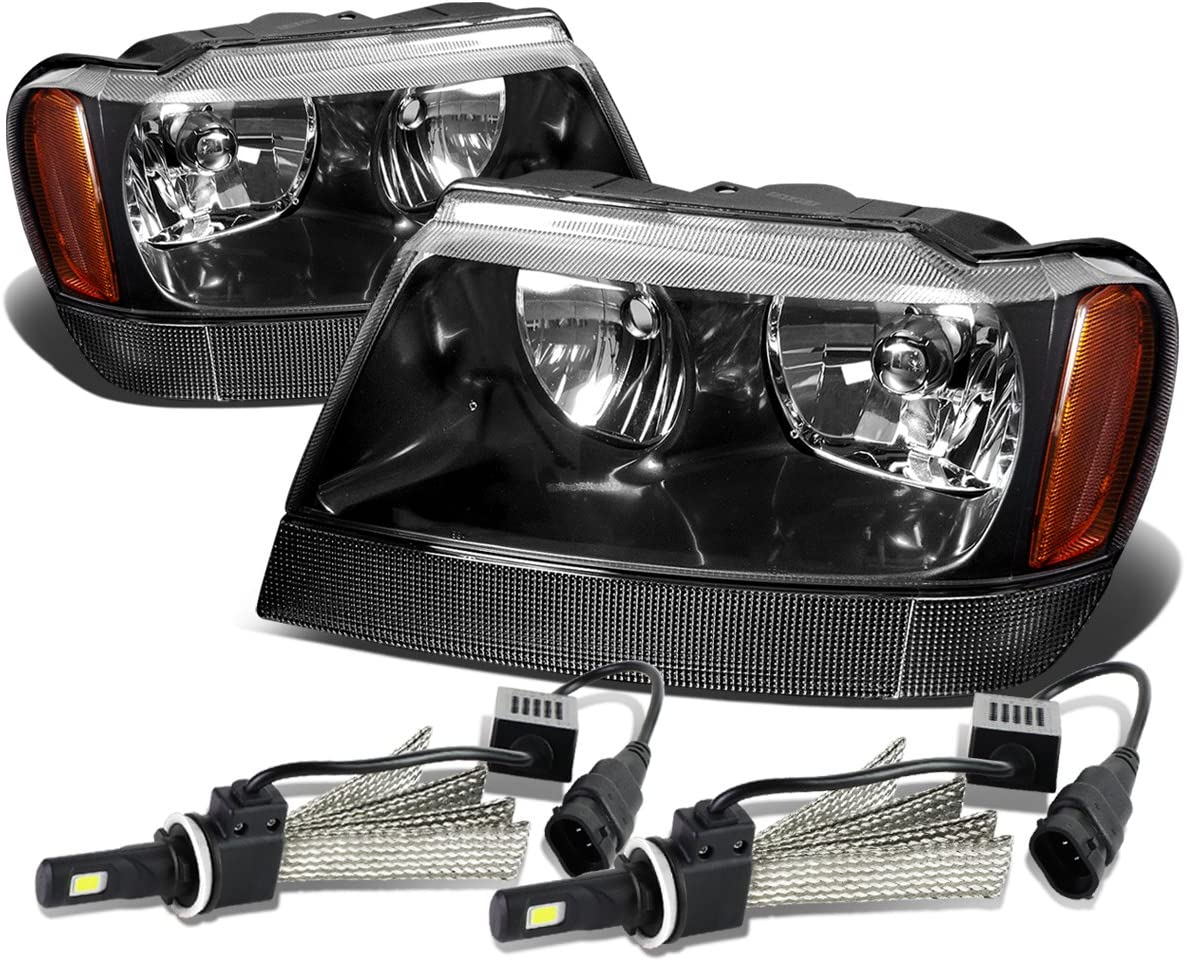 Replacement for 99-04 Jeep Grand Cherokee WJ Black Housing Amber Corner Headlights/Lamps+9006 LED Conversion Kit