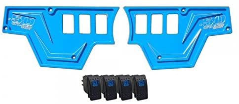 6 Switch Dash Panel with 4 Rocker Switches - Powdercoated Blue - Fits All Polaris RZR XP 1000 Models [5357-A22]