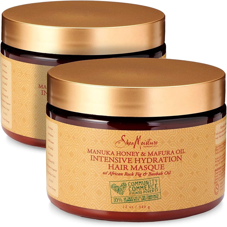 Shea Moisture Manuka Honey & Mafura Oil Intensive Hydration Hair Masque, with African Rock Fig & Baobab Oil, 12 Ounce - 2 pack